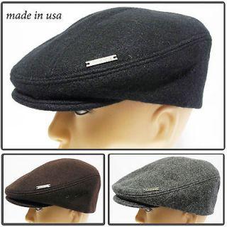 Made inUSA melton100% wool Gatsby Cap Newsboy Ivy Hat snap Golf