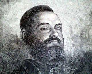 Best OUTLAW JESSE JAMES Gang Train Robber Illustration Print 1882 Old