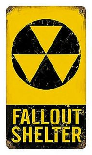 Fallout Shelter 8 x 14 Distressed Repro Cold War Era Metal Sign