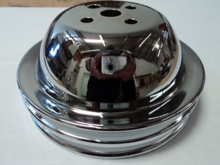 BBC CHROME SHORT WATER PUMP PULLEY 2 GROOVE FITS BB CHEVY SWP BELT 396