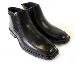 New MENS LEATHER ANKLE BOOTS ZIPPERED COMFORT STRETCH FIT DRESS SHOES