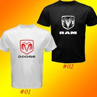 Dodge Cars And Trucks Ram Logo Custom White And Black T Shirt SIZE S