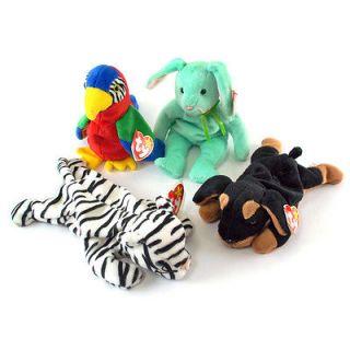 Ty Beanie Babies Hippity, Jabber, Doby, & Blizzard Lot of 4