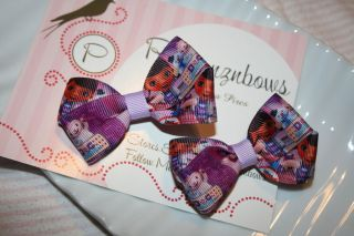 Doc Mc Stuffins Pigtail Hair Bow Clip pink & Purple infant toddler