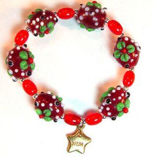 Bumpy bead girls bracelet, red & green flowers, Make a Wish star, 6