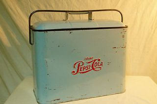 RARE VINTAGE PEPSI COLA COOLER TIN EMBOSSED RARE COLOR AND DESIGN