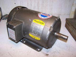BALDOR 2 HP ELECTRIC MOTOR 575 VAC 3450 RPM 145T FRAME MODEL M3555T 5