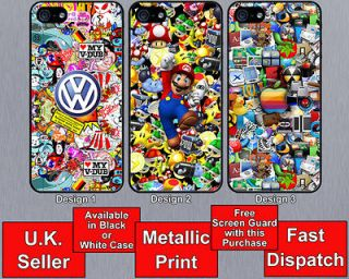 Sticker Bomb VW Dub Beetle Dub Camper Van iPhone 5 Hard Case Bumper