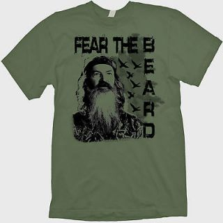 FEAR THE BEARD DUCK DYNASTY PHIL ROBERTSON HAPPY JACK SI GREEN T SHIRT