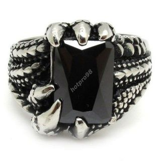 Crystal 316L Stainless Steel Dragon Eagle Claw PUNK Ring Size 11