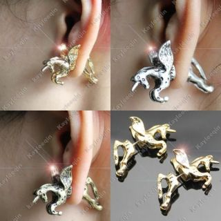 3D Unicorn Pony Flying Horse Earrings Ear Stud Fancy Dress Goth Rock