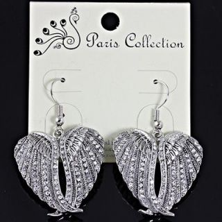 CUTE NEW BLING RHINESTONE ANGEL WING EARRINGS PARIS COLLECTION P#EZ