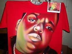 Custom Airbrush Notorious Big / Biggie Smalls on a Red T shirt Hip Hop