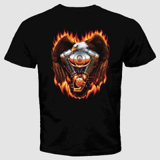 shirt Eagle Motorcycle Engine Fire Flames Bald Chopper USA Wings Cool