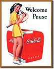 Coca Cola Tin Sign Man Woman on Beach 60s Advertising Sign 1051 FREE