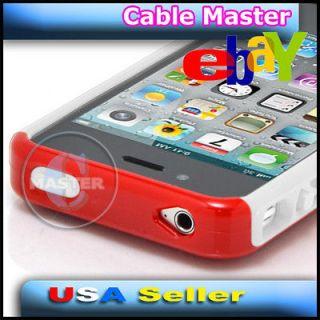 RED WHITE AIR CUSHION FASHION CASE HOUSING FOR APPLE iPHONE 4 4G 4S