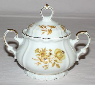 Sugar Bowl & Lid Gold Flowers Edelstein Bavaria Germany ~ Maria