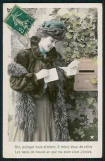 Edwardian Romantic Lady Read Love Letter original old 1910s photo