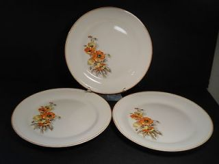 vtg Edwin M Knowles China Orange Poppy 3 Dinner Plates Semi Vitreous