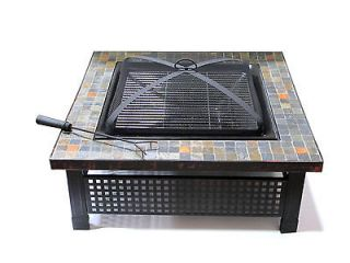 Marble Classic Square Outdoor Fire Pit   34 Inch