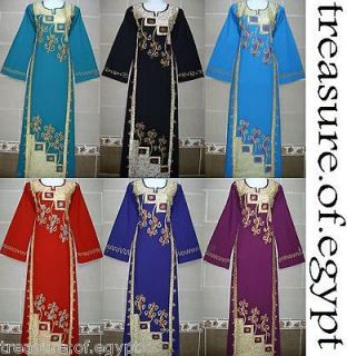 EGYPT ISLAMIC COTTON ORIENT ABAYA JILBAB DRESS KAFTAN HIJAB S M L XL