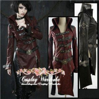 GOTH STEAMPUNK NIGHTWALKER TRENCH COAT JACKET Cosplay costume Red