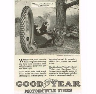 1920 Goodyear Tire & Rubber Co. Motorcycle Tires Sidecar Vintage Print