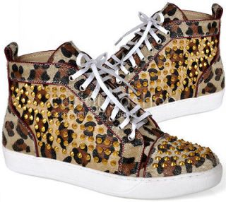 New Womens Gold Studded Leopard Print Calf Hair High Top Sneakers