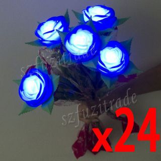 24 x LED Electric Rose Flower With Twig Candle Tea Light Lamp For