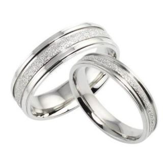 New Titanium Steel Promise Ring Couple Wedding Bands Shine Frost