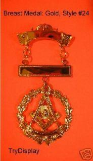 Gold #24 Past Master Breast Medal Jewel Masonic Regalia