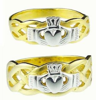 14K Gold Sterling Silver Celtic Claddagh Band Wedding Ring Set Made sz
