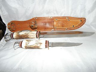 Matched Pair Bowie & Small Hunting Knifes Elk Carved Stag Handles