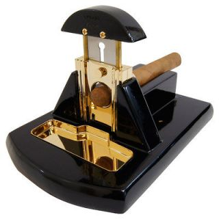 BLACK & GOLD TABLE TOP CIGAR CUTTER   FULLY GUARANTEED BY CUBAN