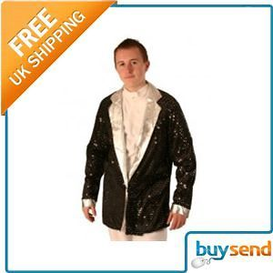 Adults Mens 70S Disco Black & Silver Sequin Jacket Elvis Fancy Dress