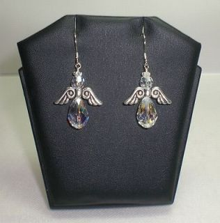 Angel Wings Crystal AB Sterling Silver Earrings Made With Swarovski