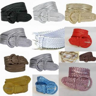 Girl Fashion Trendy Metalic Braided Wide Belt Wholesale 3002 13 color