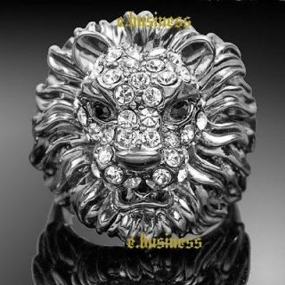 18K White Gold GP Austrian Swarovski Crystal Lion ring