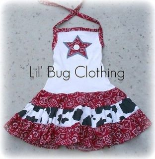 Custom Boutique Girl Western Wear Pageant Birthday Star Tiered Dress