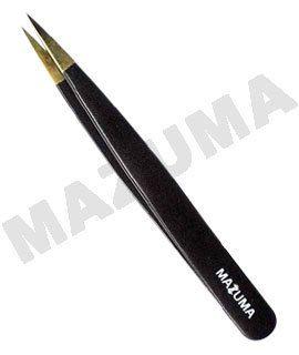 POINTY GOLD TIP TWEEZER/CRAFT/ NAIL ART/INGRO HAIR/BLACK