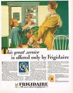 1920s VINTAGE Frigidaire Fridge Lady & Child Food E M JACKSON Art