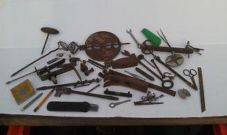 AX139 Estate Vintage Junk Drawer Lot, Flue Damper, Drill Bits Scribe