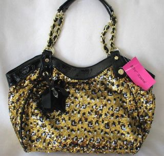 BETSEY JOHNSON GOLD LEOPARD SEQUIN CHAIN STRAP TOTE BAG~$98~HARD TO
