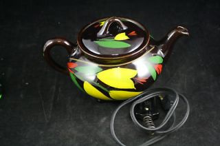 ROYAL CANADIAN ART POTTERY ELECTRIC TEAPOT HAND PAINTED