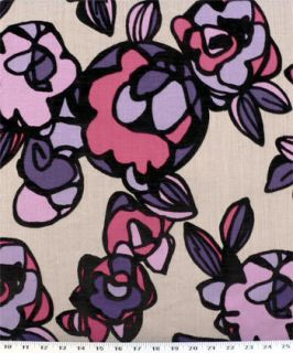 Drapery Upholstery Fabric Flocked Velvet Leaves in Purple, Pink