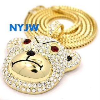 ICED OUT GOLD PT. KANYE WEST TEDDY BEAR PENDANT W/ 36 FRANCO CHAIN #