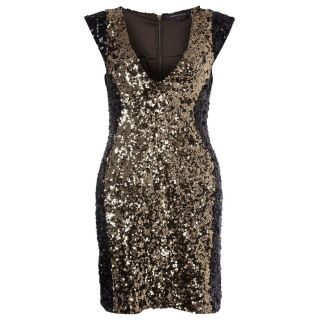 French Connection Moonray Sequins Capped Sleeve Dress Black/Gold