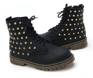 Womens Ladies Faux Leather GOLD Studded Zip Combat Boots Military Bike