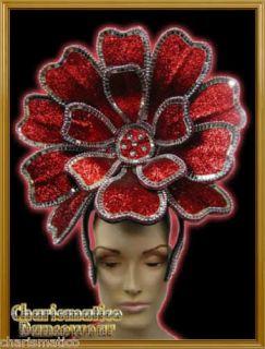 RED Drag Queen SUN DIVA CABARET BIG FLOWER HEADDRESS