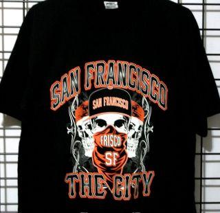 SF San Francisco City GiANTS Colors Gangster Skull shirt Black Bandana